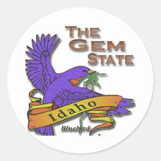 Idaho Gem State Bluebird Round Stickers