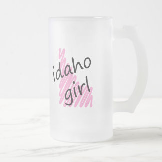 Idaho Girl with Scribbled Idaho Map Frosted Glass Beer Mug