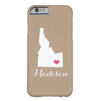 Idaho Heart Mocha Brown Custom Monogram Barely There iPhone 6 Case