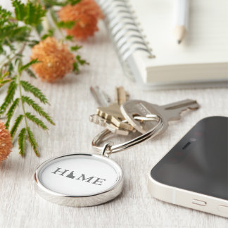Idaho Home State Silver-Colored Round Keychain