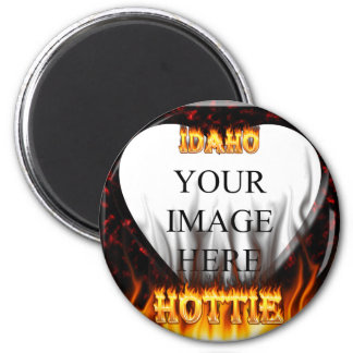 Idaho Hottie fire and red marble heart 2 Inch Round Magnet