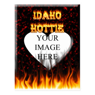 Idaho Hottie fire and red marble heart Postcard