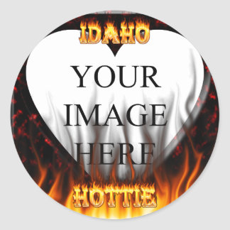 Idaho Hottie fire and red marble heart Round Stickers