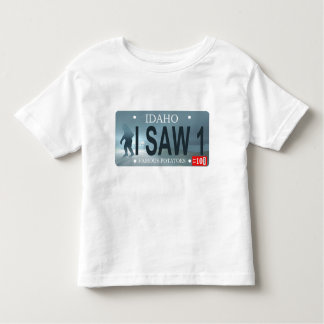 "Idaho ""I Saw 1"" Sasquatch License Plate Toddler T-shirt"