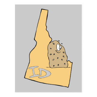 Idaho ID Map & Idaho Potato Spud Cartoon Motto Postcard