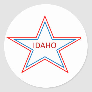 Idaho in a star. classic round sticker