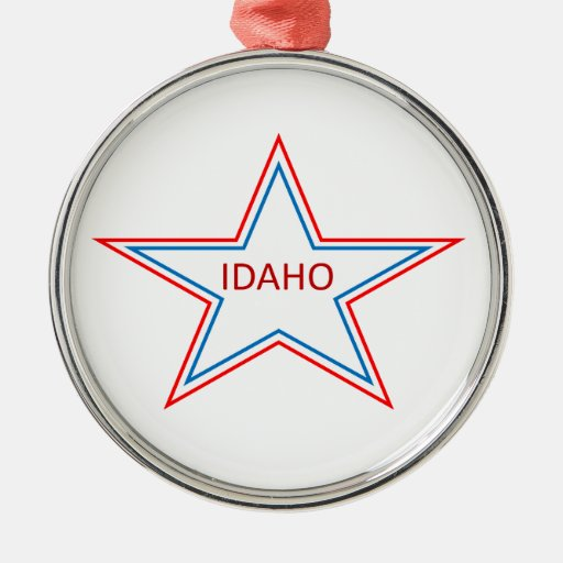 Idaho in a star. round metal christmas ornament