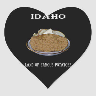 "Idaho ""Land of Famous Potatoes"". Heart Sticker"