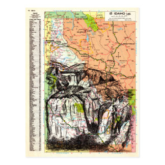 Idaho Map Art Postcard