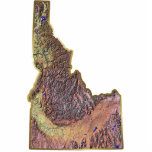 """Idaho Map Magnet Cut Out<br><div class=""""desc"""">This magnet,  shaped like the state of Idaho,  displays a relief map of the state surrounded by a gold effect border. Idahoan decor for your fridge.  Map derived from images at nationalatlas.gov.</div>"""