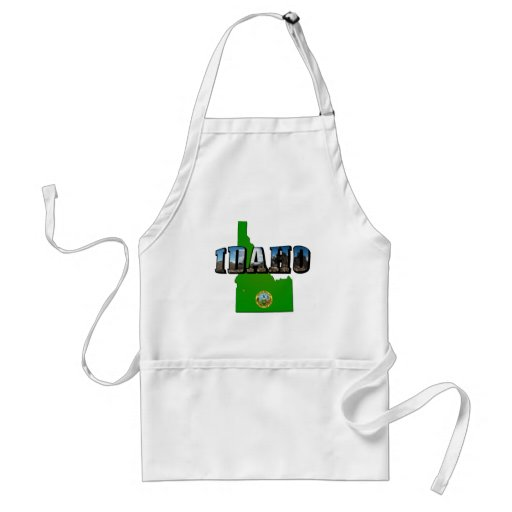 Idaho Map, Seal and Picture Text Adult Apron