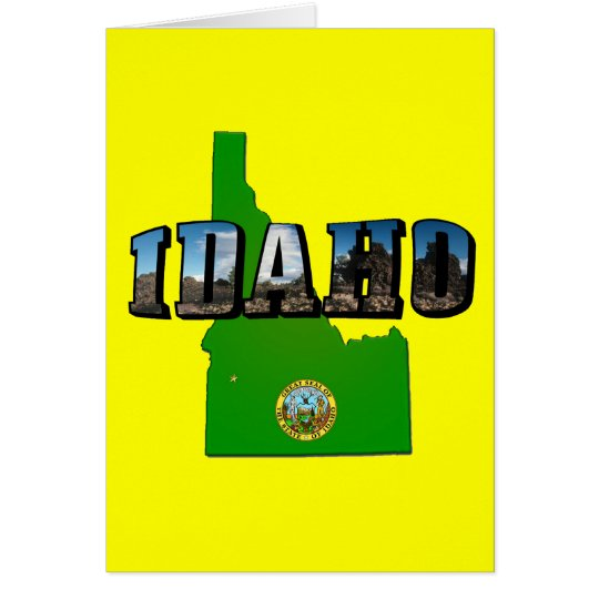 Idaho Map, Seal and Picture Text Card