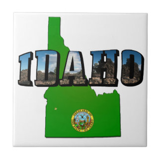 Idaho Map, Seal and Picture Text Ceramic Tile