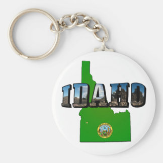 Idaho Map, Seal and Picture Text Keychain