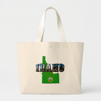 Idaho Map, Seal and Picture Text Large Tote Bag