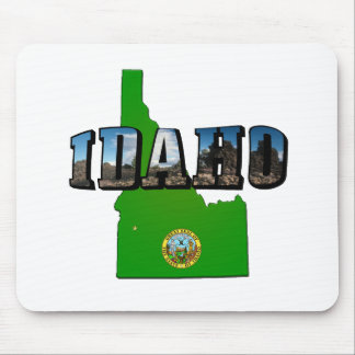 Idaho Map, Seal and Picture Text Mouse Pad