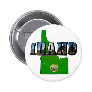 Idaho Map, Seal and Picture Text Pinback Button