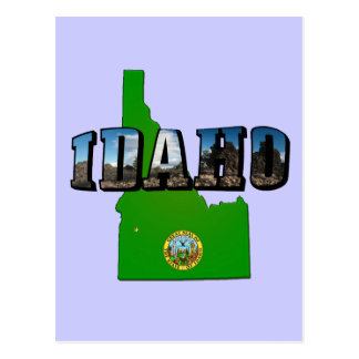 Idaho Map, Seal and Picture Text Post Cards