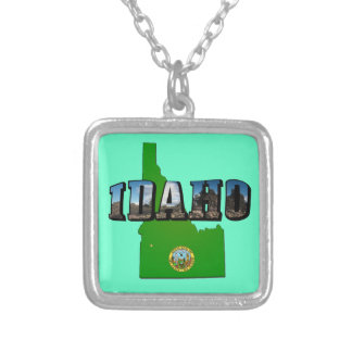 Idaho Map, Seal and Picture Text Silver Plated Necklace