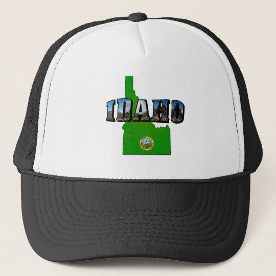 Idaho Map, Seal and Picture Text Trucker Hat