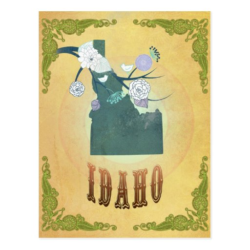 Idaho Map With Lovely Birds Post Cards