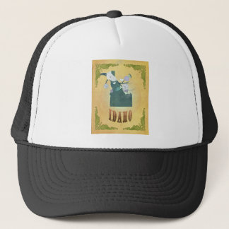Idaho Map With Lovely Birds Trucker Hat
