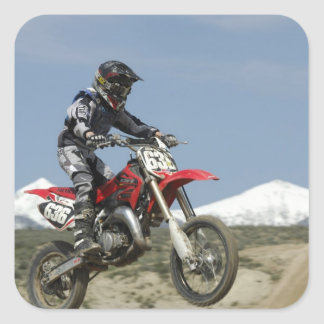 Idaho, motocrós que compite con, el competir con calcomanía cuadrada personalizada