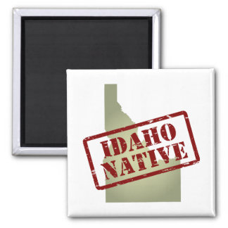 Idaho Native Stamped on Map Magnet