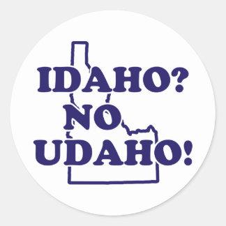 Idaho ningún Udaho Pegatina Redonda