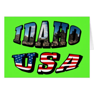 Idaho Picture State and Flag USA Text Card