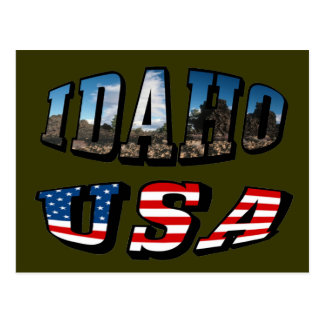 Idaho Picture State and Flag USA Text Postcard