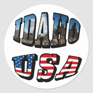 Idaho Picture State and Flag USA Text Round Sticker