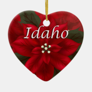Idaho Poinsettia Heart  Keepsake Ornament