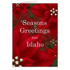 Idaho Poinsettia Seasons Greetings Christmas Card at Zazzle
