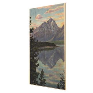 Idaho - reflexión magnífica de Teton en el lago ja Impresiones De Lienzo
