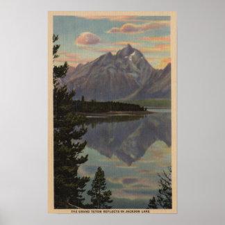 Idaho - reflexión magnífica de Teton en el lago ja Poster