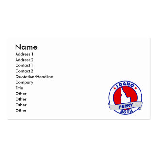Idaho Rick Perry Business Card Template