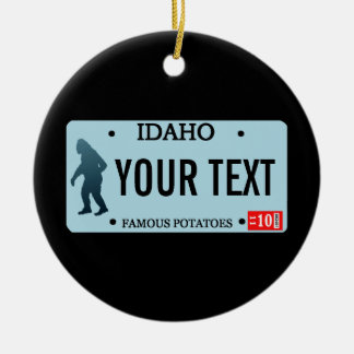 Idaho Sasquatch License Plate Ceramic Ornament