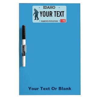 Idaho Sasquatch License Plate Dry Erase White Board