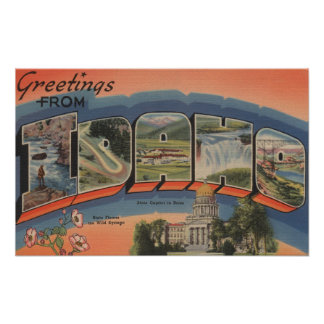Idaho (State Capital/Flower) - Large Letter Poster