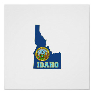 Idaho State Flag and Map Poster