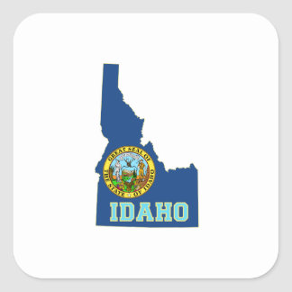 Idaho State Flag and Map Square Sticker