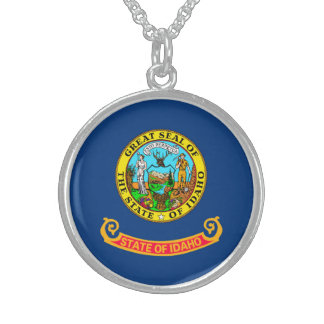 Idaho State Flag Design Sterling Silver Necklace