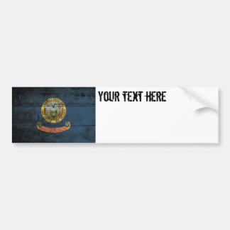 Idaho State Flag on Old Wood Grain Car Bumper Sticker