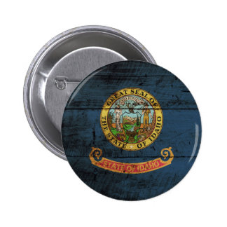 Idaho State Flag on Old Wood Grain Buttons