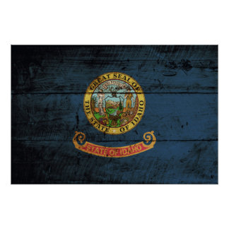 Idaho State Flag on Old Wood Grain Poster