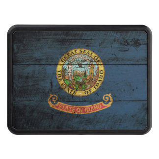 Idaho State Flag on Old Wood Grain Trailer Hitch Cover