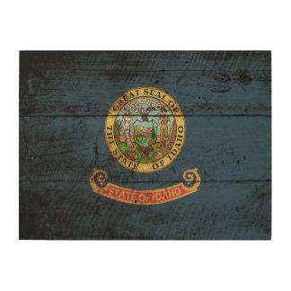 Idaho State Flag on Old Wood Grain Wood Wall Art