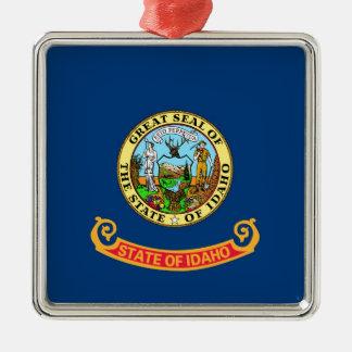 Idaho State Flag Square Metal Christmas Ornament