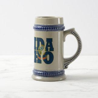 Idaho state flag text beer stein